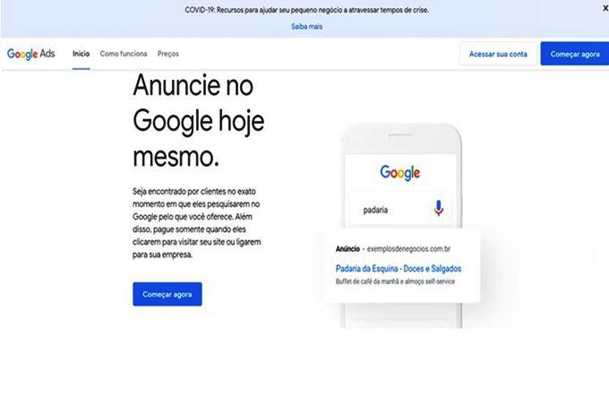 Captura de tela início Google ADS para acessar o Keyword Planner. Imagem - Captura de tela Google